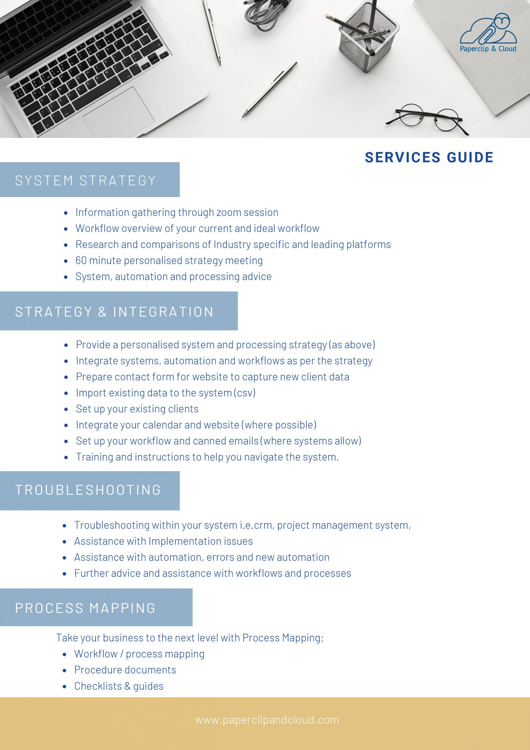 List of all of the services provided by paperclip and cloud and what they cover.